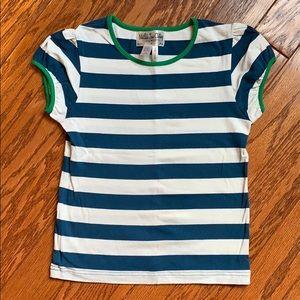 Matilda Jane blue striped tee with green trim.